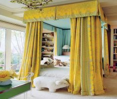 cheerfully yellow curtain canopy beds