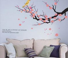 cherry blossom with bird for removable wall decals inspirations