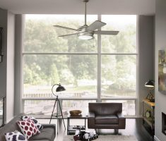 chrome ceiling fans with lights by kichler in small living room