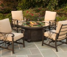 classic agio patio furniture with round glass table