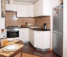 classic modern small kitchen with mosaic wall tiles