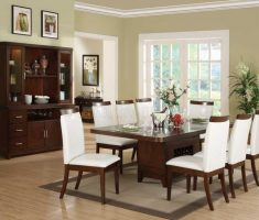 classical dining table and white 8 chairs