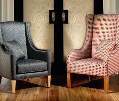 classical rustic high back chair with pattern polka dot and abstrac with arms and pillows