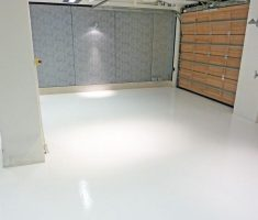 clean white epoxy garage floor