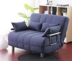 comfortable blue cushion small sofa bed with arms