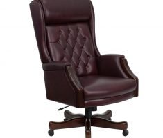 comfortable brown leather high back chair for office