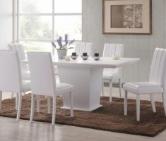 comfortable white dining table and 6 chairs