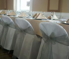 contemporary bridal folding chair covers white with silver ribbons