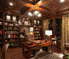 contemporary wooden room office with classic chandelier light shade designs for home office