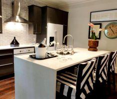 cool black white modern small kitchen with island