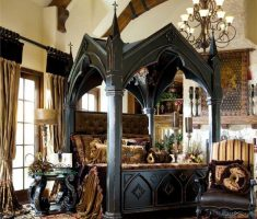 cool gothic modern canopy beds black wood