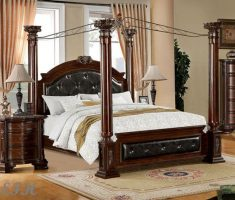 cool varnishing wood canopy beds