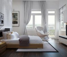 cozy modern bedroom apartment with modern window treatments