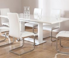 cozy tokyo white dining table and 6 perth white chairs