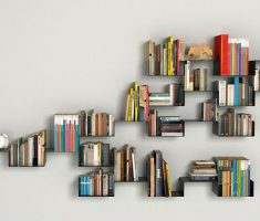 creative wall mount shelf design for bookshelf