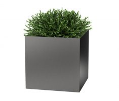 cube grey modern garden pots for small plant