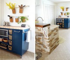cute blue diy kitchen island cart rolling style