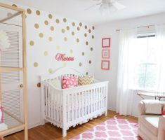 cute gold polka dot wall decals for nursery with white wall