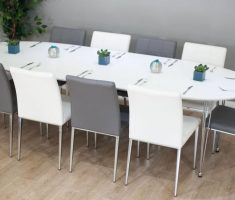 cute long ovale white dining table and chairs and grey