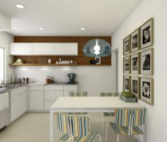 cute modern small kitchen white theme with trendy strippes chair