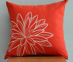 cute orange throw pillow covers design with flower embroidery