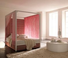 cute pinky curtain for romantic modern canopy beds