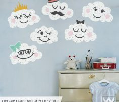 cute and funny clouds character for removable wall decals inspirations
