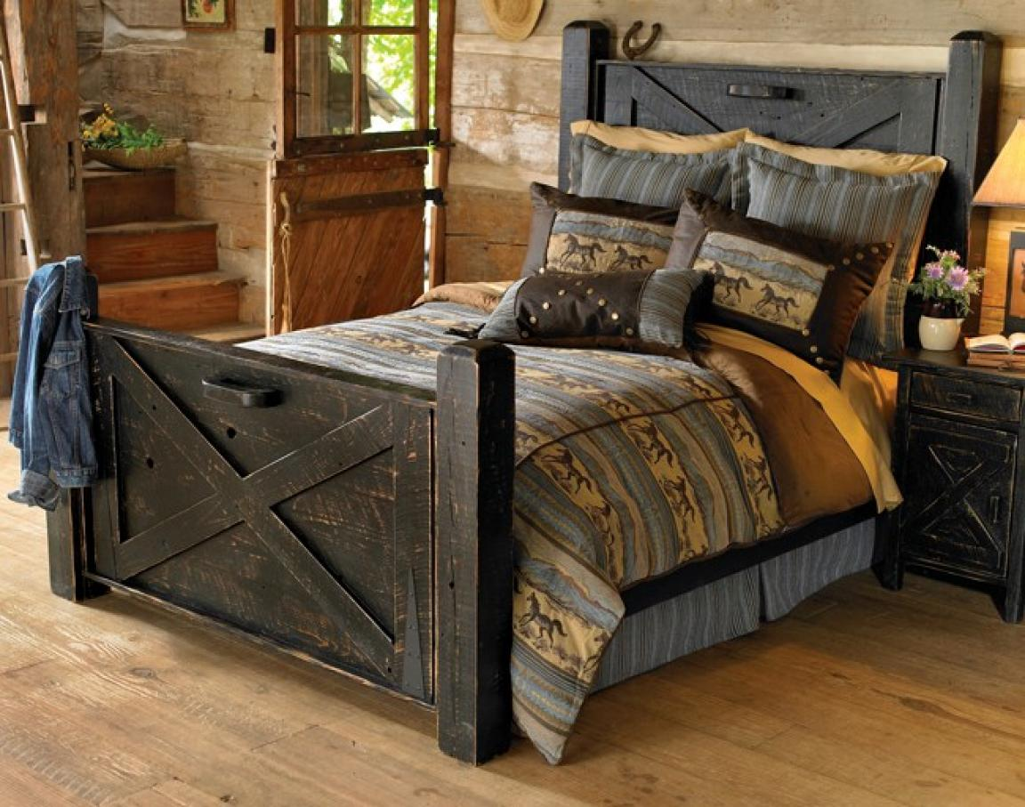 diy-black-rustic-bedroom-furniture