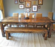 diy farmhouse dining table reclaimed with bench