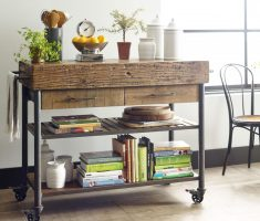 diy kitchen island cart with metal and wood materials