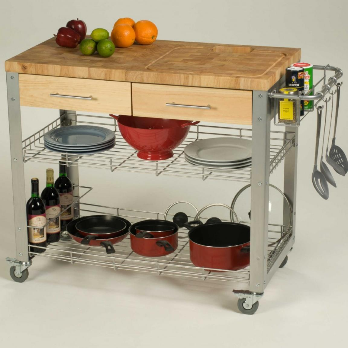 Diy Kitchen Island Cart With Metal And Wooden Home Inspiring
