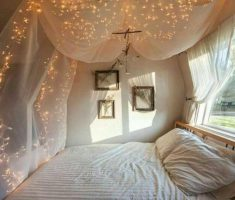 diy modern canopy beds with romantic lighting