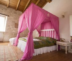 diy pink curtain for modern canopy beds