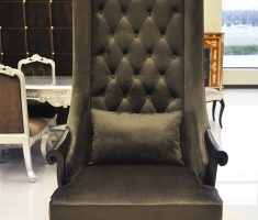 dark green tufted high back chair velvet materials with arm