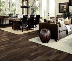 dark hardwood floors on dining room with living room one place