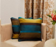 elegant blue and gold strippes throw pillow covers design