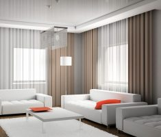 elegant brown and white modern window treatments with white sofa set living room