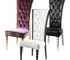 elegant minimalist tufted leather high back chair with white black and purple colors