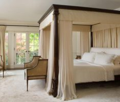 elegant modern canopy beds whie curtain