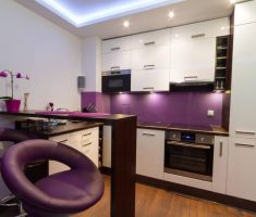 elegant purple modern small kitchen theme with small island