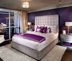 elegant purple and white master bedrooms decoration on shaggy rug floor