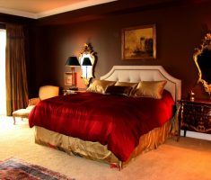 elegant royal modern master bedrooms decoration warm hot color with red blanket