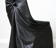 elegant satin black folding chair covers