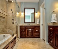 elegant traditional bathroom designs with vanity red wood