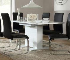 elegant white dining table gloss and 6 perth black chairs