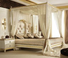 elegant white modern canopy beds with white curtain for romantic theme