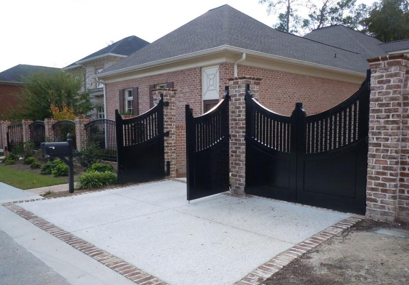Enchanting Black Front Gate Designs With Brick Pillar