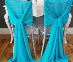 enchanting diy folding chair covers with blue ribbon fabric