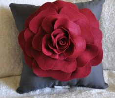 enchanting dark grey throw pillow covers design with arise red flower