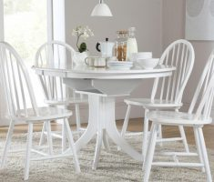 enchanting minimalist white hudson dining table and 4 windsor chairs
